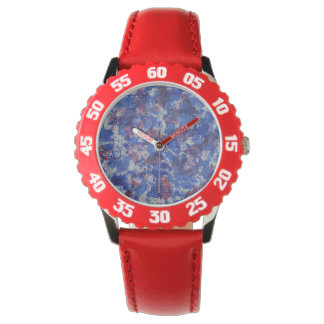 Blue and Red Watercolor Watch