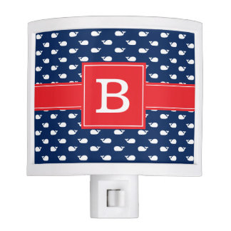Blue and Red Whimsical Whales Pattern Monogram Night Lite