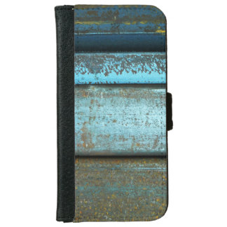 Blue and rust rugged weathered rusted metal iPhone 6 wallet case