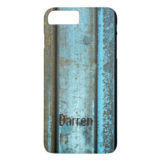 Blue and rust rugged weathered rusted metal iPhone 7 plus case