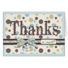 Blue and Sage Polka Dots Thank You Baby Shower Card