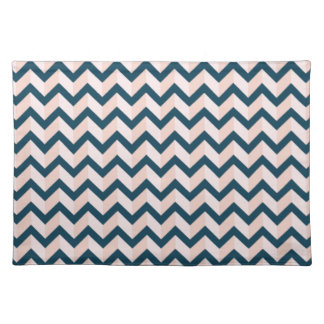Blue and Shades of Pink Chevron Pattern Placemat