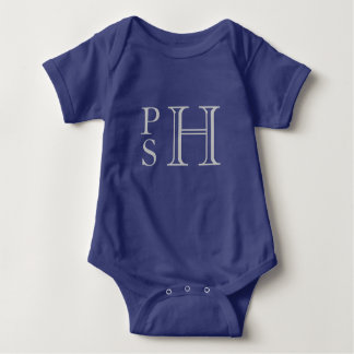 Blue and silver abby monogrammed baby bodysuit