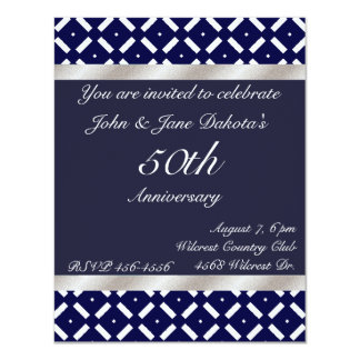 Blue and Silver Anniversary Invitation