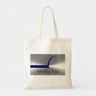 Blue and Silver Brushed Metal Tote Bags