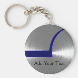 Blue and Silver Brushed Metal Keychain