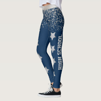 Blue and Silver Cheer or Drill Spandex Leggings