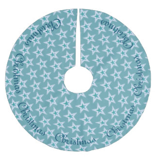Blue and Silver Christmas Stars Brushed Polyester Tree Skirt