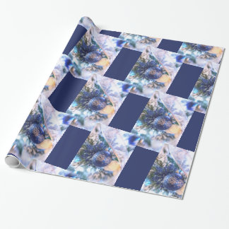 Blue and Silver Christmas Tree Wrapping Paper