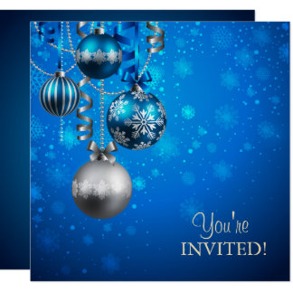Blue and Silver Corporate Holiday Party Invitation
