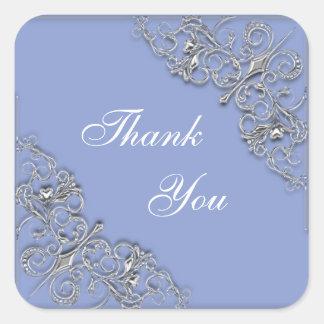 Blue and silver elegant wedding square sticker