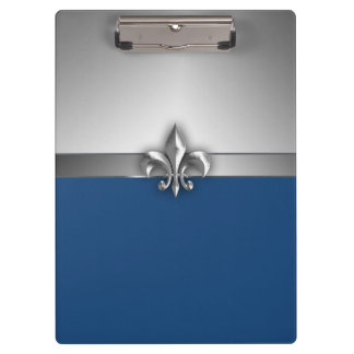 Blue and Silver Fleur de Lis Clipboard