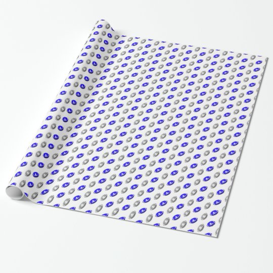 Blue and Silver Football Pattern Wrapping Paper