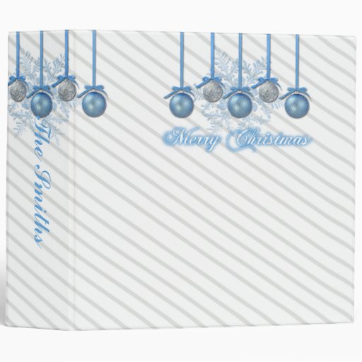 Blue and Silver Glitter Ornaments Christmas Binder