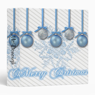 Blue and Silver Glitter Ornaments Vinyl Binders
