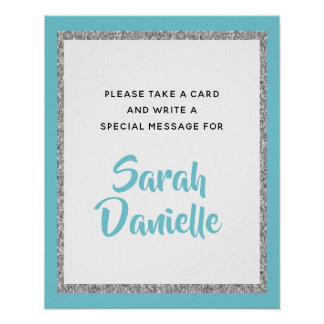 Blue and Silver Glitter Wish Card Display Sign