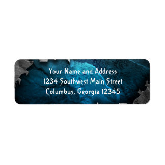 Blue and Silver Grunge Metal/Stone Design Return Address Label
