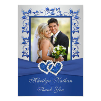 Blue and Silver Joined Hearts Photo Thank You Card