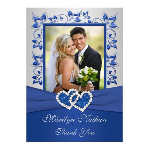 Blue and Silver Joined Hearts Photo Thank You Card Custom Invitations