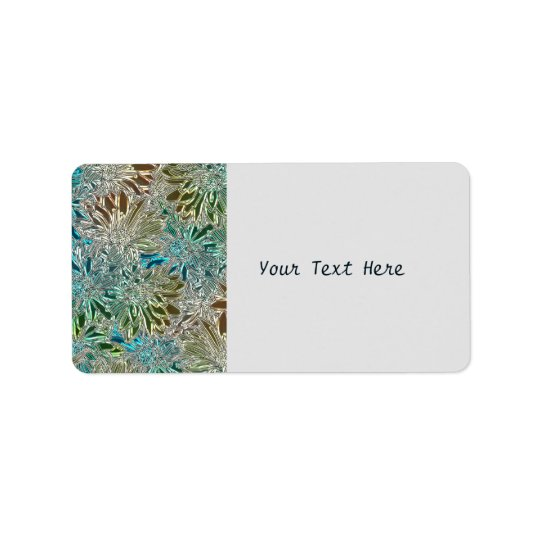 Blue And Silver Metallic Flowers Label