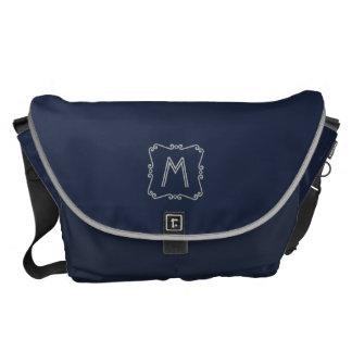 Blue and Silver Monogram Messenger Bag