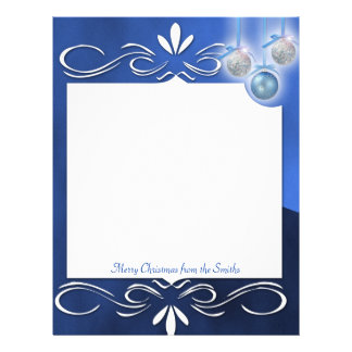 Blue and Silver Ornaments on a Blue Letterhead