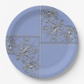 Blue and silver ornate wedding paper plate