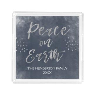 Blue and Silver Peace on Earth Christmas Acrylic Tray