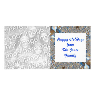 blue and silver personalized photo card
