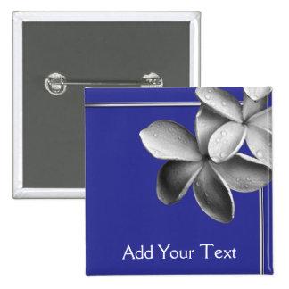 Blue and Silver Plumeria 2 Inch Square Button