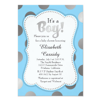 Blue and Silver Polka Dots Baby Shower Invitation