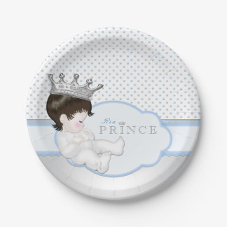 Blue and Silver Prince Baby Shower 7 Inch Paper Plate