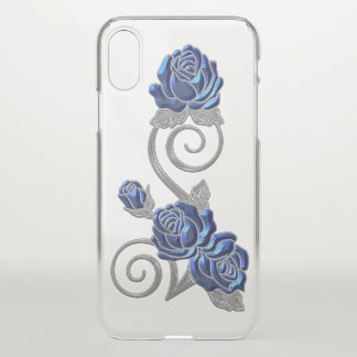 Blue and Silver Roses iPhone X Case