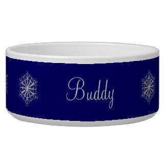Blue and Silver Snowflakes Pet Bowl