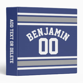 Blue and Silver Sports Jersey Custom Name Number 3 Ring Binder