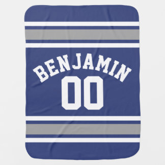 Blue and Silver Sports Jersey Custom Name Number Baby Blankets