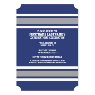Blue and Silver Sports Jersey Custom Name Number Card