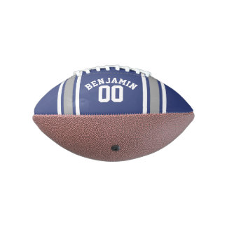Blue and Silver Sports Jersey Custom Name Number Football