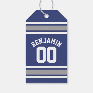 Blue and Silver Sports Jersey Custom Name Number Gift Tags