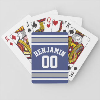 Blue and Silver Sports Jersey Custom Name Number Playing Cards