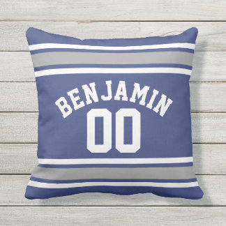 Blue and Silver Sports Jersey Custom Name Number Throw Pillow