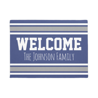 Blue and Silver Sports Jersey Welcome Name Doormat