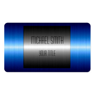 Blue and Silver Stainless Steel Metal Business Card