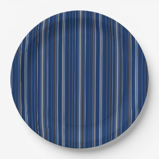 "Blue and Silver Striped 9"" Paper Plates"