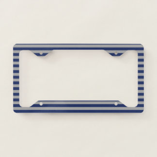 Blue and Silver Stripes License Plate Frame