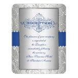 Blue and Silver Swirl Wedding Reception Card