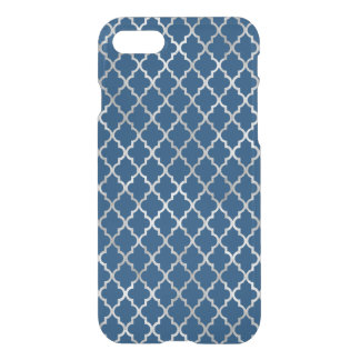 Blue and Silver Trellis Pattern iPhone 8/7 Case