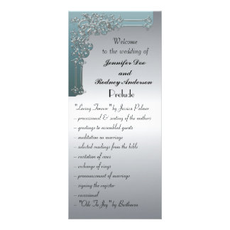 Blue and Silver Wedding Program Rack Card