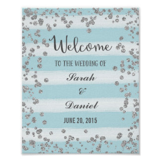 Blue and Silver Welcome Poster Print