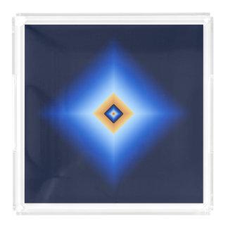 Blue and Tan Diamond Acrylic Tray